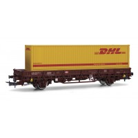 "Rivarossi HR6411 Carro a due assi pianale ""DHL"" H0-1:87"