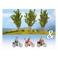 Noch 94009 Ciclisti e 3 pioppi (scala N 1:160)