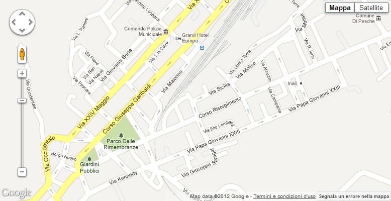 Cartina di Isernia - Via Sicilia - Sede ARTE DEL TRENO